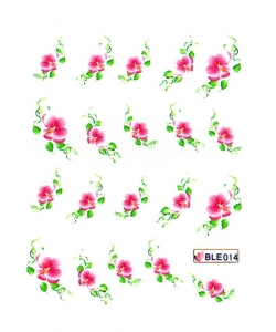 PINK GARDEN FLOWER V Nail Sticker